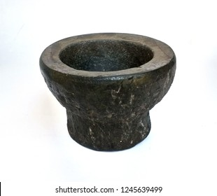 Black stone mortar.Kitchen Equipment.white background.