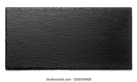 Black stone plate isolated on white background, Top view.