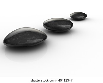 Black stones arranged on white surface - 3d render