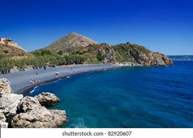Black stones beach in chios island