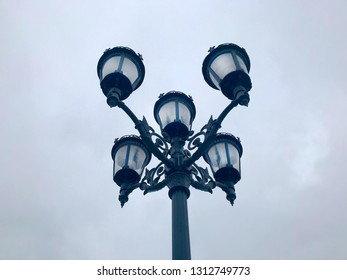 Black street lamp in the afternoon.