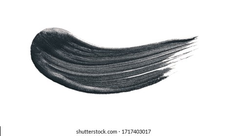 Black stroke fluid cosmetic volcanic clay or activated charcoal for face mask stroke isolated on white background.
