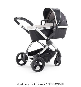 Black Stroller Isolated on White Background. Side View of Pushchair and Carrycot with Canopy and Swivel Wheels. Baby Transport. Infant Carriage Seat. Travel System or Pram with Elevators and Raincover