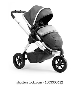 Black Stroller Isolated on White Background. Side View of Baby Transport. Pushchair and Carrycot with Canopy and Swivel Wheels. Infant Carriage Seat. Travel System or Pram with Elevators and Raincover