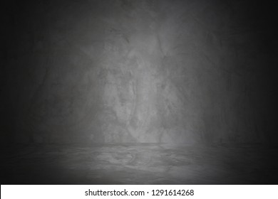black studio wall of cement and showroom background for presentation product