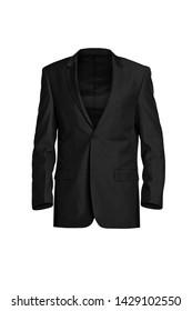 Black stylish men's jacket isolated on white background. Ghost mannequin photography