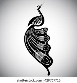 Black stylized bird on the white background. Graphic illustration