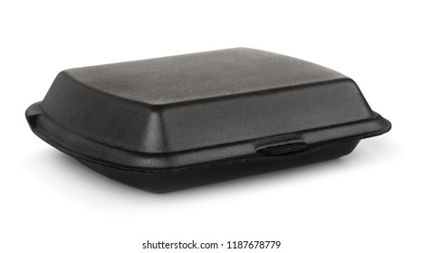 Black styrofoam food container isolated on white
