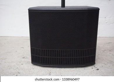 Black subwoofer. 12 inch. DJ equipment.