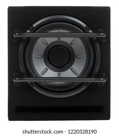 Black subwoofer isolated on white