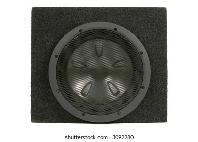 Black subwoofer. Isolated on white. Clipping path included
