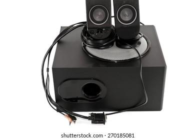 Black Subwoofer with loudspeaker