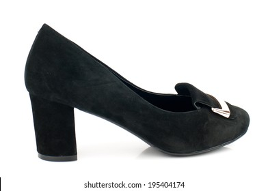 Black  suede  low heel classic  women shoe isolated on white background.Please, look for more photos like this in my sets.