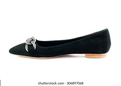 Black suede shoe isolated on white background.