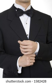 Black suit 1, tying cuffling