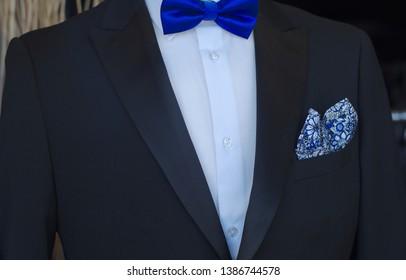 black suit white shirt blue tie bowtie elegance classic style