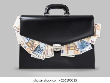 black suitcase full of banknotes