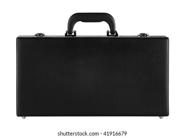 A black suitcase isolated on white with clipping path