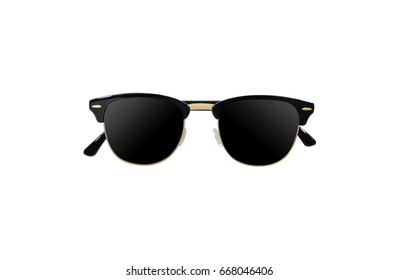 black sun glass with black eyeglass lenses and golden frame on white background