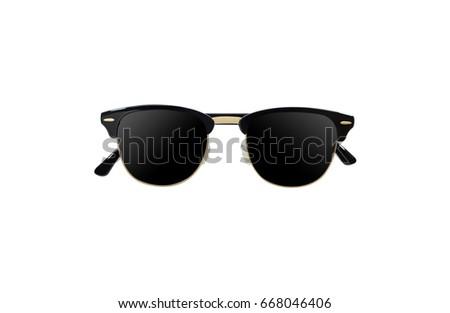 306b63f54d6c black sun glass with black eyeglass lenses and golden frame on white  background