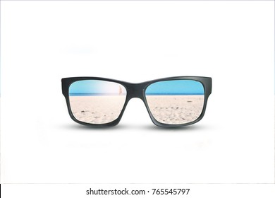 Black sun glasses have a beach with sand reflecting on an isolated white background, summer concept.