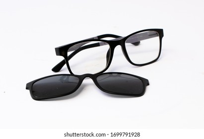 Black sun glasses with Mirror Lens polarized isolated on white background.
