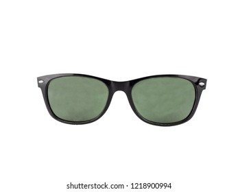 Black sunglasses with black frame isolated on white background.