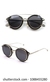 Black sunglasses isolated on white background, top view and side view