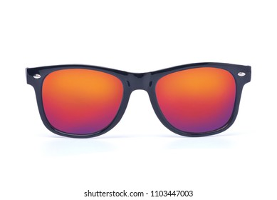 Black sunglasses with Multicolor red Mirror Lens isolated on white background