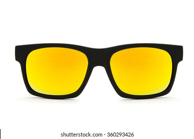 black sunglasses on white background