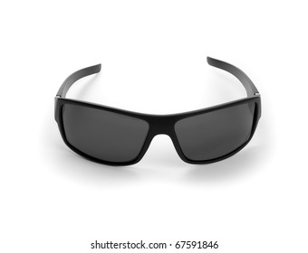 black sunglasses on white background. isolated path included