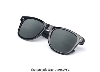 Black sunglasses with black plastic frame isolated on white background