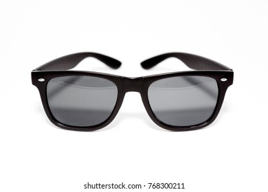 Black Sunglasses viewed from the front on a white background