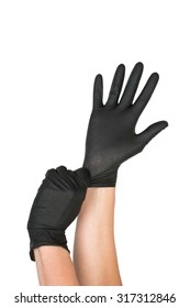 Black Surgical Latex Glove. Stock Image macro.