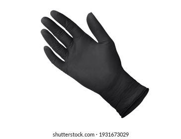 Black surgical medical gloves isolated on white background with hands. Rubber glove manufacturing, human hand is wearing a latex glove. Doctor or nurse putting on nitrile protective gloves