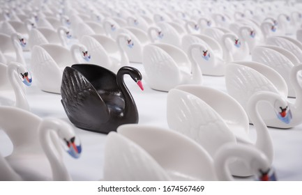 Black Swan Event (face masks). Concept. A rare and unexpected event that has a major effect, such as a financial crash or pandemic. It is a metaphor often used in science or economics.
