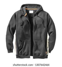 Black Sweat Pullover Hoodie Isolated. Unisex Long Sleeves Apparel. Hooded Sweater Garment. Bunny Hug Kangaroo Sweatshirt Hood Drawstrings Pocket. Men's and Women's Clothing Zipper Hoodies Jumper