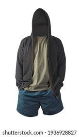 black sweatshirt with iron zipper hoodie,gray t-shirt and dark blue sports shorts isolated on white background. casual sportswear