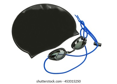 Black swim cap and swim goggles on a white background