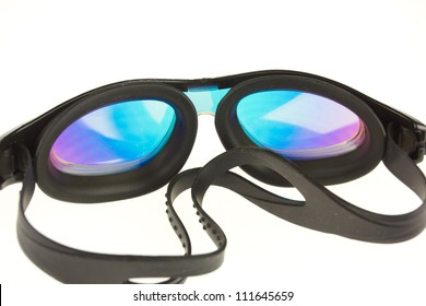 Black swimming goggles isolated on a white background