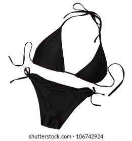 Black swimsuit isolated on white background with clipping path