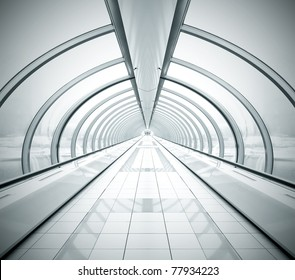 black symmetric vanishing corridor with bent wall