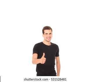 279936686fc3 Black t shirt on a smiling young handsome man template on white background. Copy  space