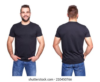 Black t shirt on a young man template on white background