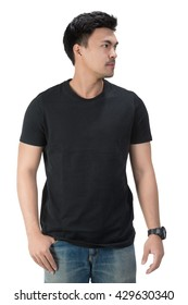 Black t shirt on a young man template on white background,clipping path