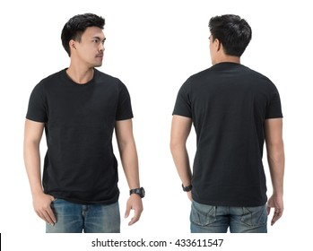 Black t shirt on a young man template on white background.