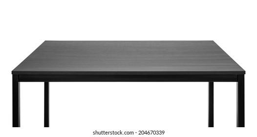 Black table. Wooden board, metal legs.