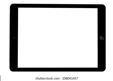 Black tablet computer blank screen isolated on over white background