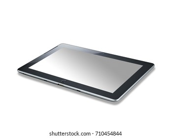 Black tablet computer (tablet pc) on white background