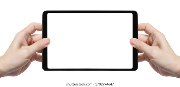 Black tablet in male hands, isolated on white background